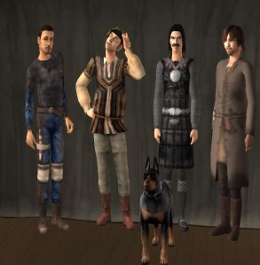 Four characters of the Bretonnian campaign created as player characters dressed in medieval clothing in Sims 2 (and their dog).