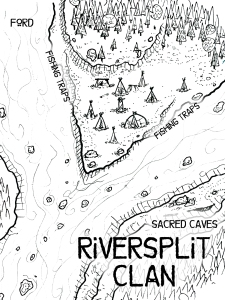 Map of the Riversplit Clan camp showing the two merging rivers, tents sites and the sacred caves.